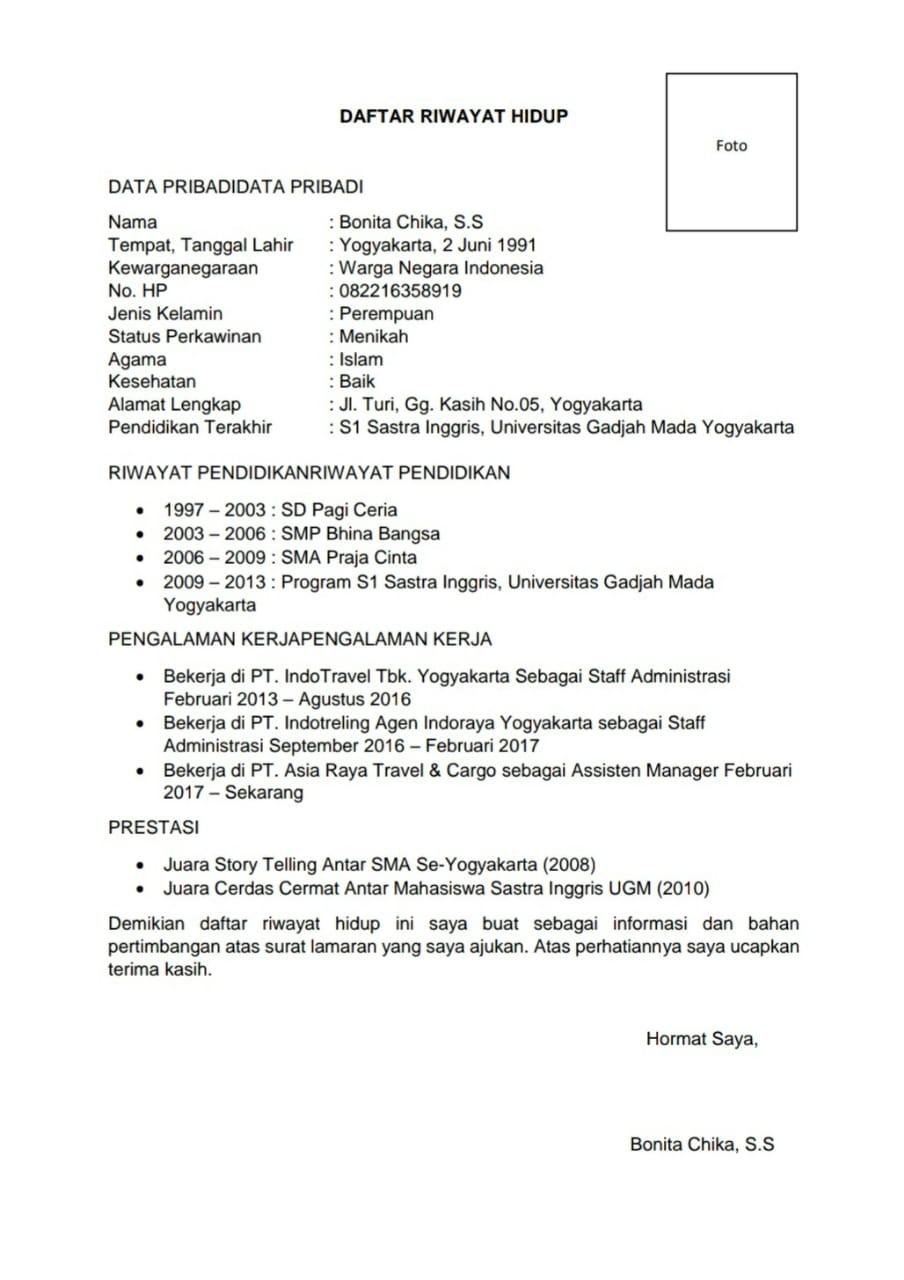Contoh CV Lamaran Kerja PDF yang Baik dan Benar Terbaru