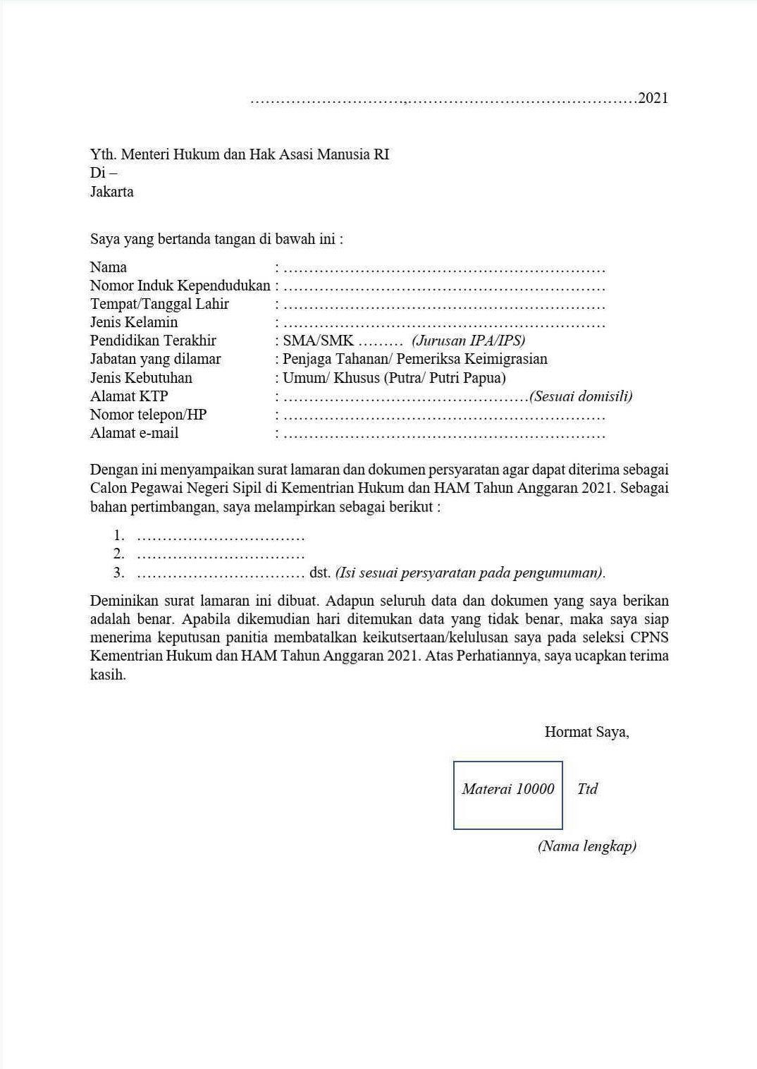 Surat Lamaran CPNS 2021 dan Surat Pernyataan Seleksi CPNS