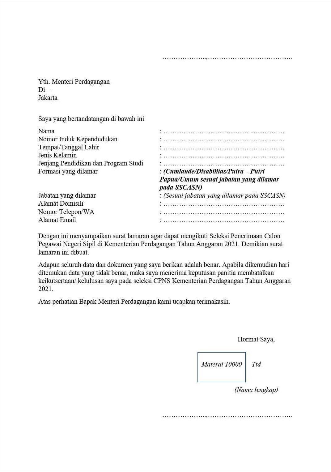 Contoh Surat Lamaran CPNS 2021 dan Surat Pernyataan Seleksi CPNS
