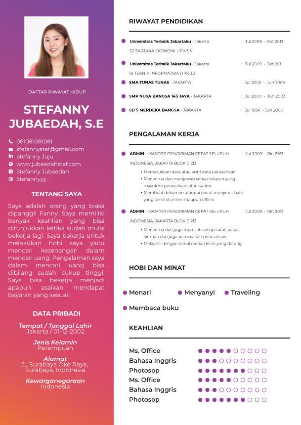 Template CV Purple Grad