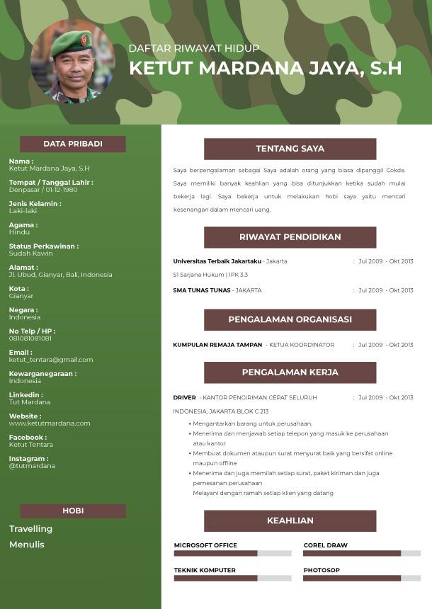 Template CV Wild Army